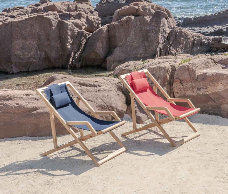 Red Sunbrella deckchair