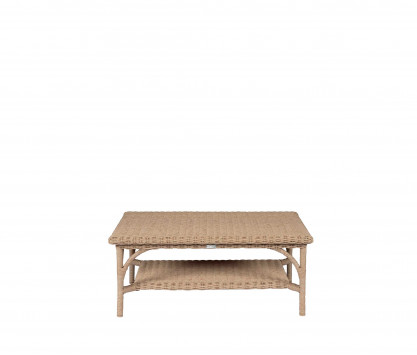 Woven resin low rectangular table