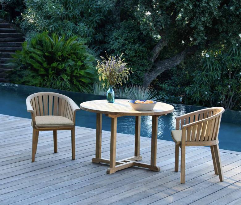 Round teak table Ø 90 cm