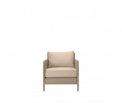 Woven resin low armchair