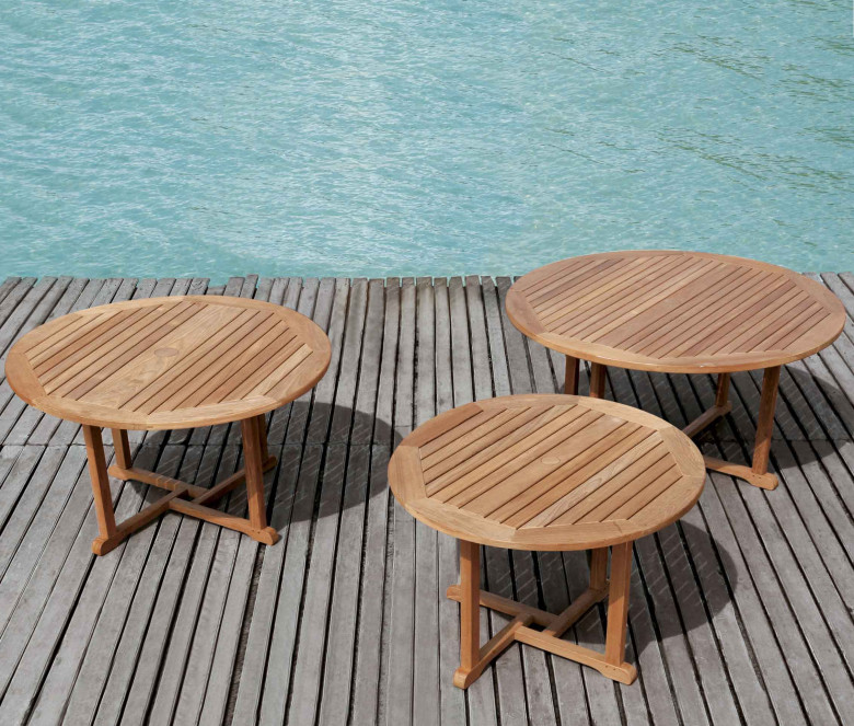 Round teak table Ø 110 cm