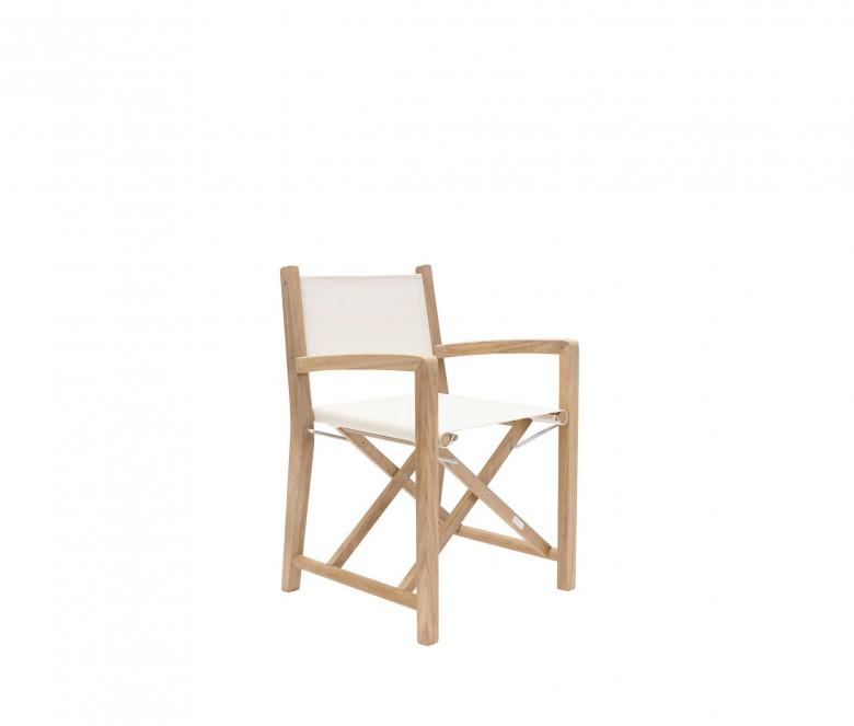 Ecru teak folding armchair