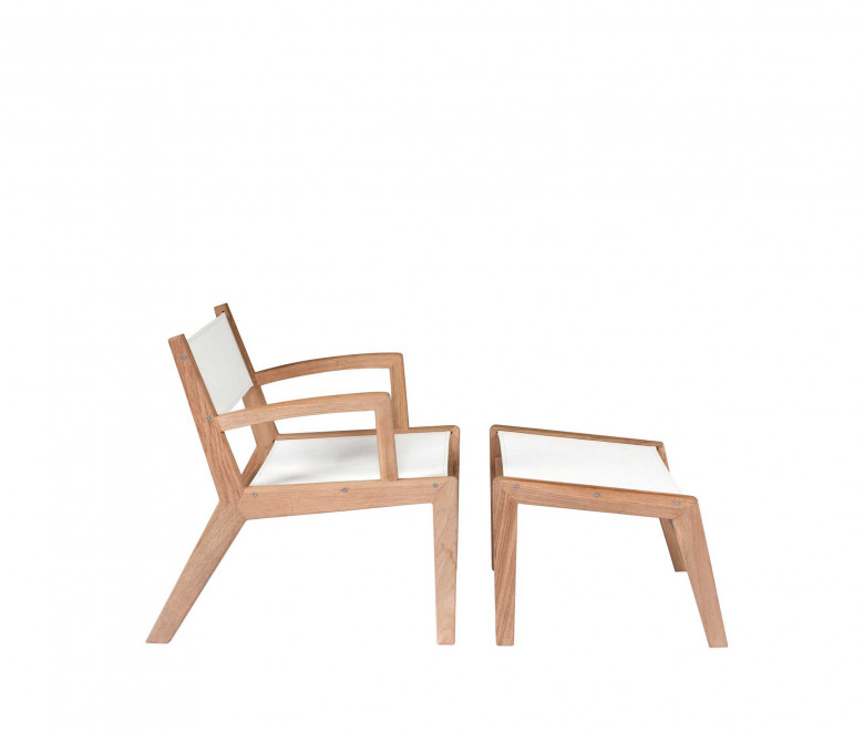 Ecru teak low armchair