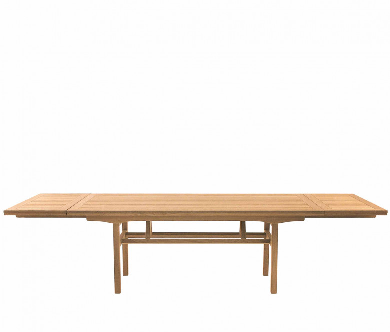 Teak folding table with extensions