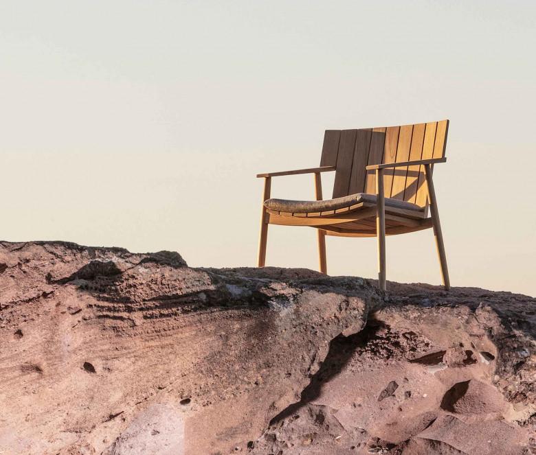 Teak low armchair
