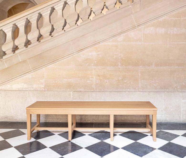 Polished oak bench