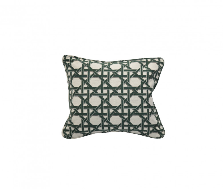 Back rest cushion - Green Thyme cane pattern