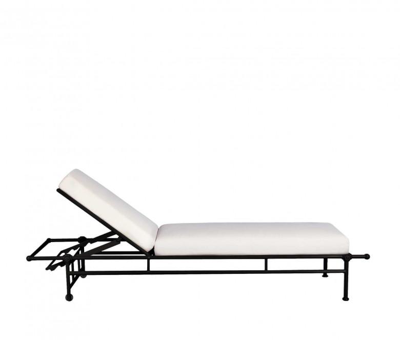 Aluminum sun lounger with mattress - BLACK