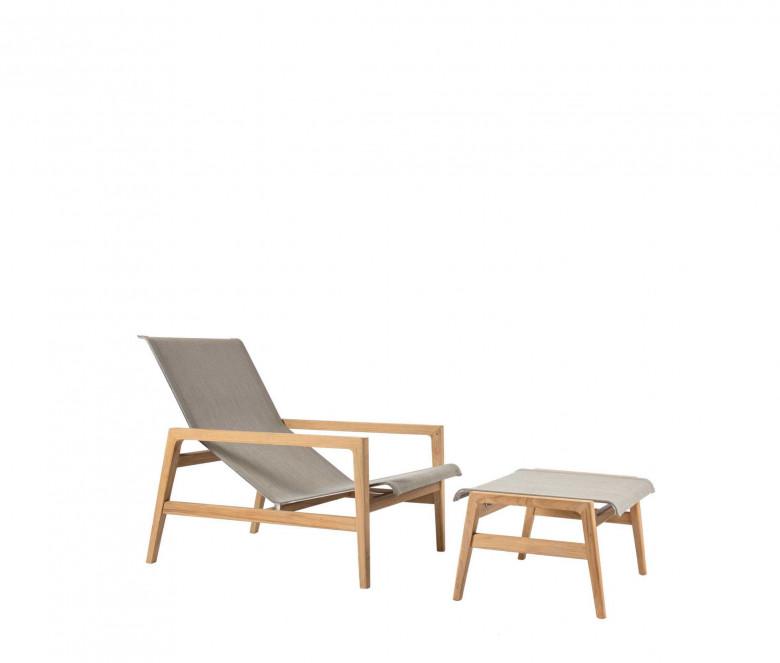 Teak lounge armchair Eden taupe