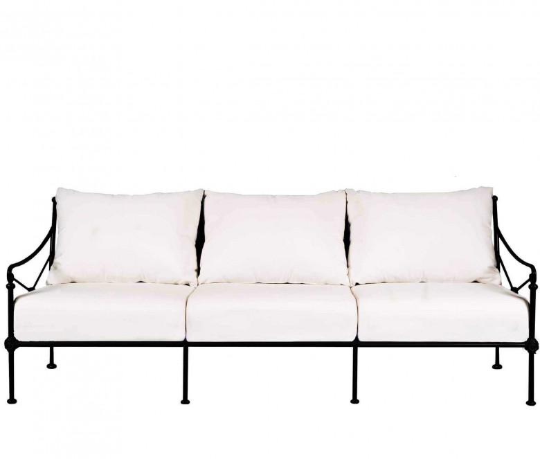 Aluminum three-seater sofa - BLACK