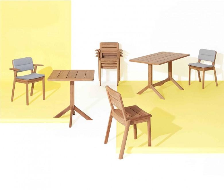 Mesa rectangular de teca 140 x 70 cm