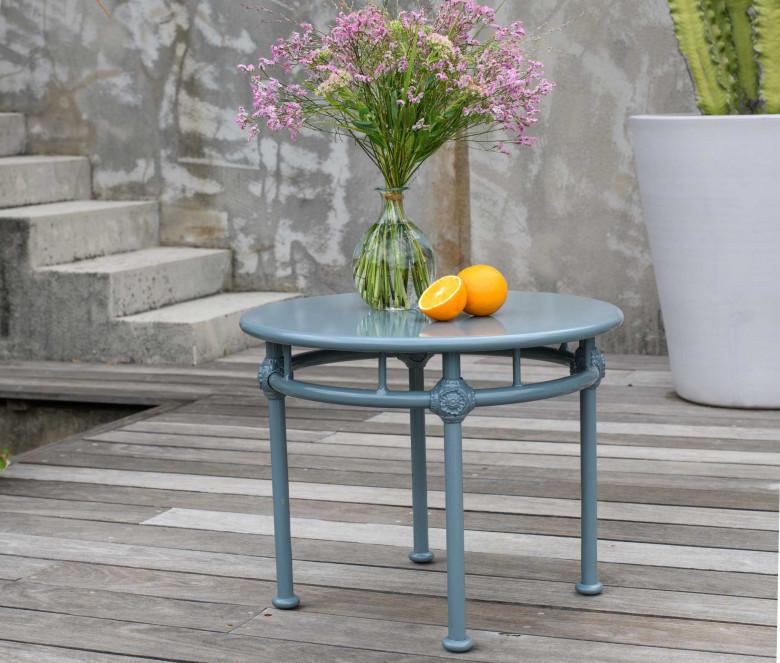 Mesa baja redonda 1800 azul-gris