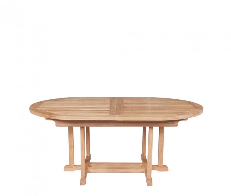 Mesa extensible ovalada de teca