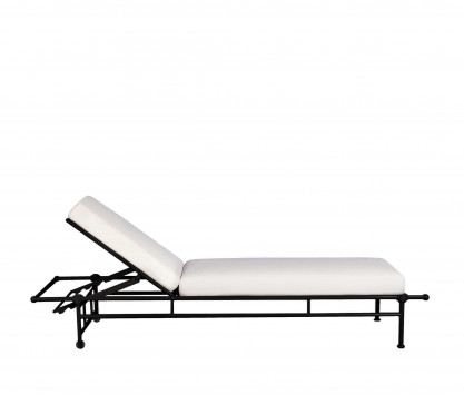 Chaise longue de aluminio con colchoneta - NEGRO