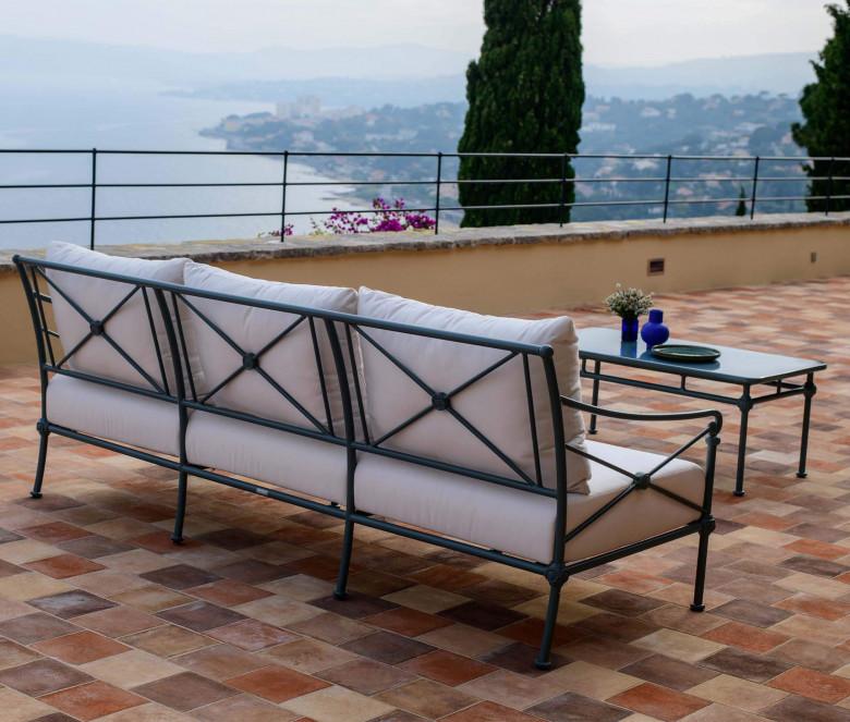 Canapé de jardin en aluminium 3 places - 1800 BLEU