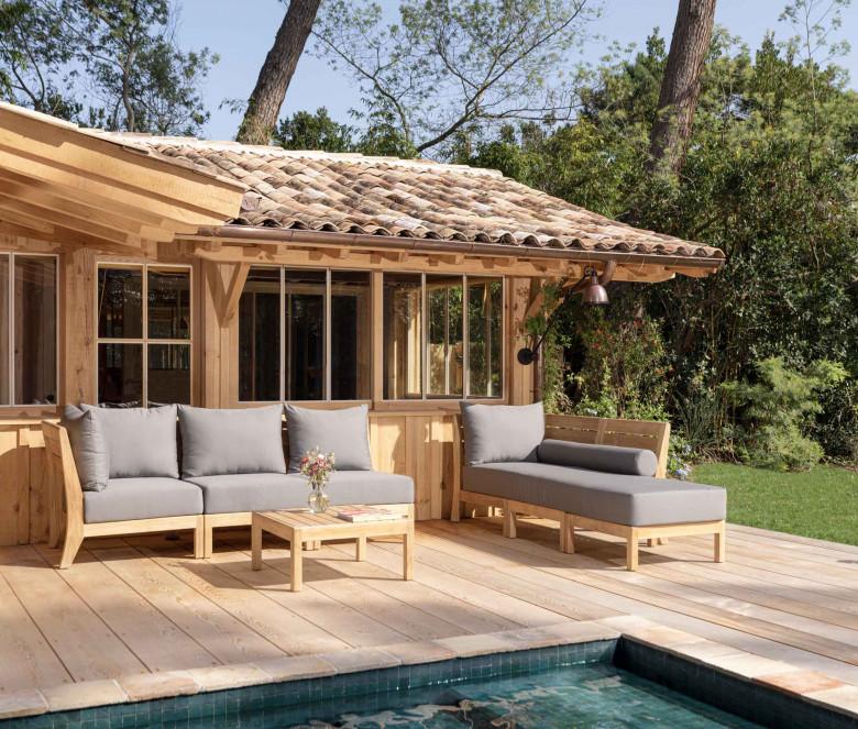 Canapé d'assise modulable - Exeter - Sunbrella Gris ardoise