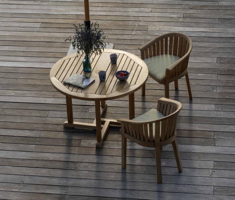 Table ronde en teck Ø 90 cm