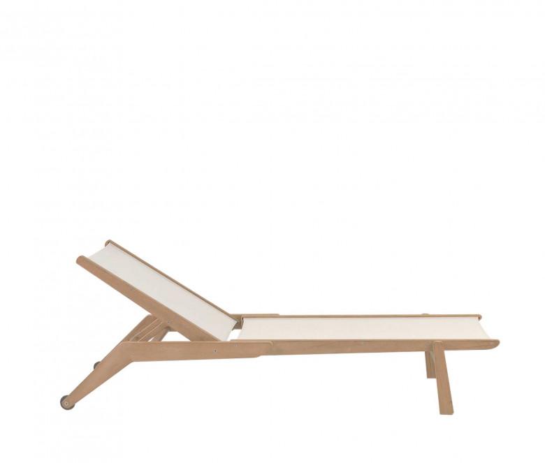 Chaise longue empilable en teck écru