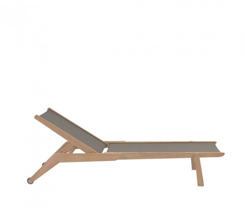 Chaise longue empilable en teck Eden taupe