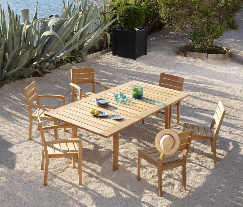 Table extensible rectangulaire en teck - Exeter