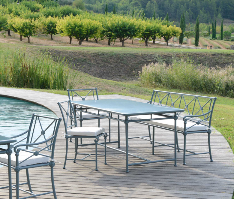 Table rectangulaire en aluminium 180x90 cm - 1800 BLEU