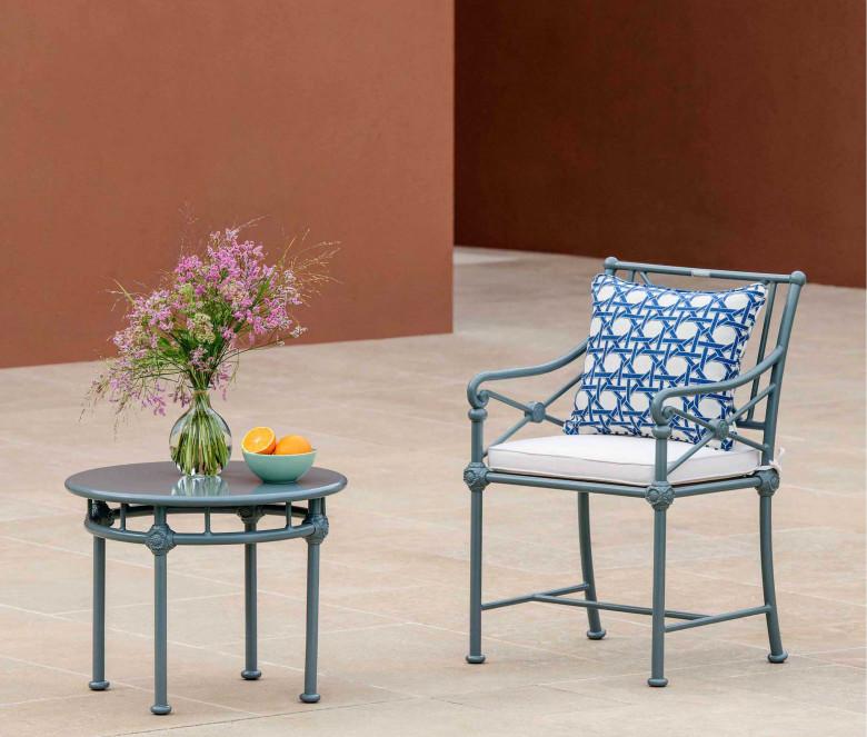 Tavolo basso rotondo 1800 grigio-azzurro